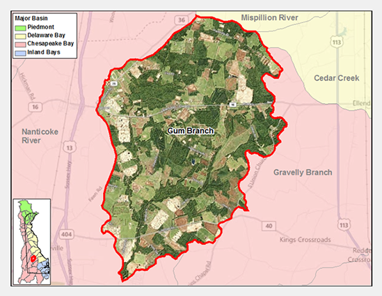 Gum Branch Watershed Map