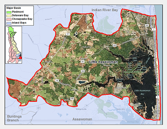 Little Assawoman Bay Watershed Map